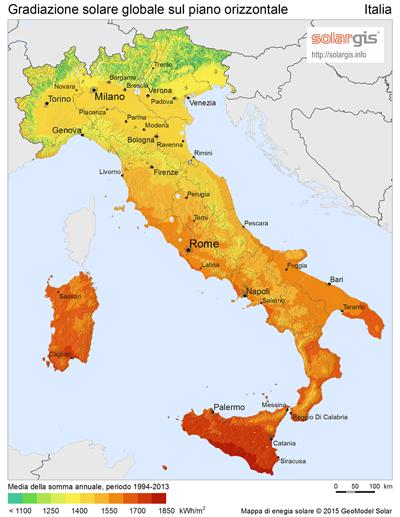 radiazione solare in Italia sul piano orizzontale